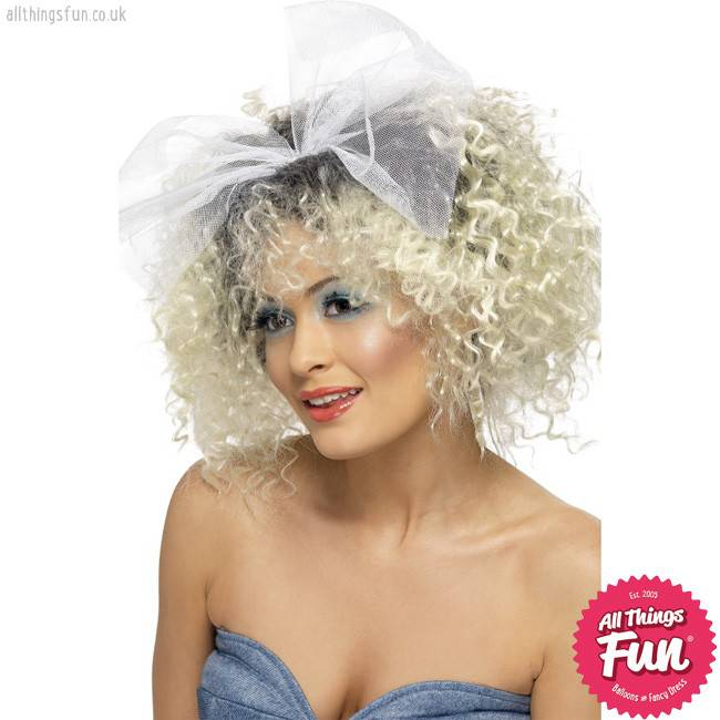 Smiffys 80's Blonde Wild Child Wig with Bow