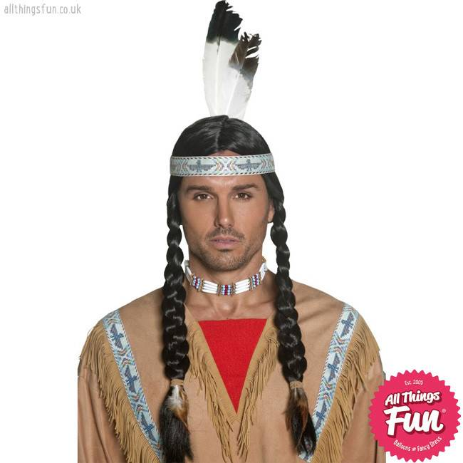 Smiffys Native Indian Wig with Plaits & Feather Headband