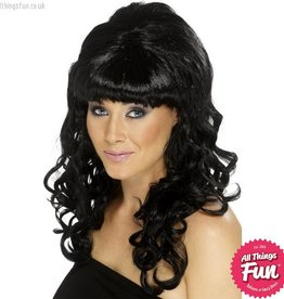Smiffys Black Beehive Beauty Wig
