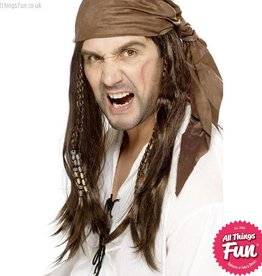 Smiffys Brown Buccaneer Pirate Wig with Braids & Bandana