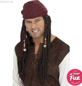 Smiffys Brown Pirate Wig & Scarf with Plaits