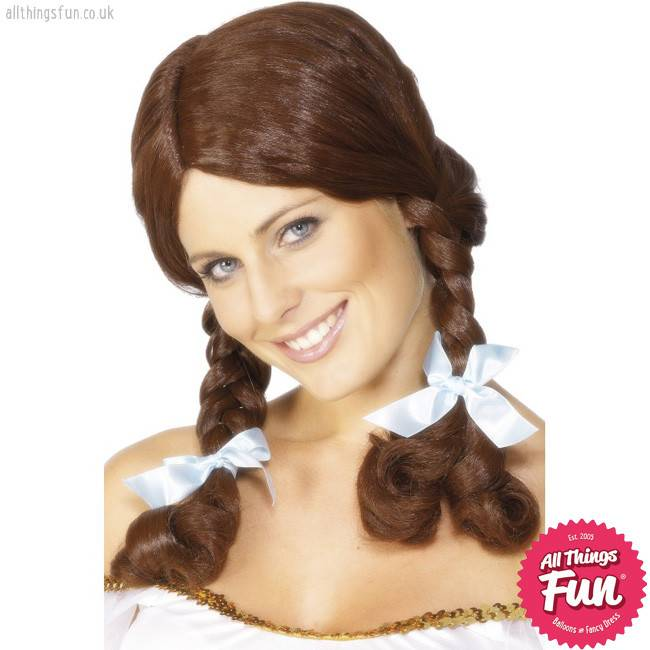 Smiffys Brown Country Girl Wig with Plaits