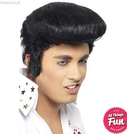Smiffys Elvis Black Deluxe Wig with High Quiff