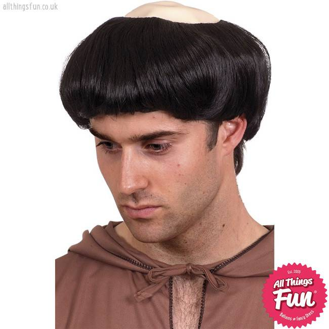 Smiffys Black Monks Wig with Plastic Top