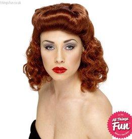 Smiffys Auburn Pin Up Girl Wig Auburn