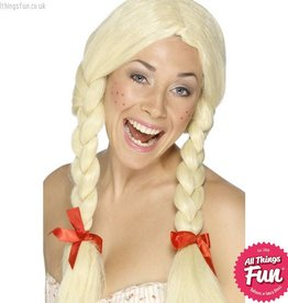 Smiffys Blonde Schoolgirl / Dutch Wig with Plaits & Ribbons