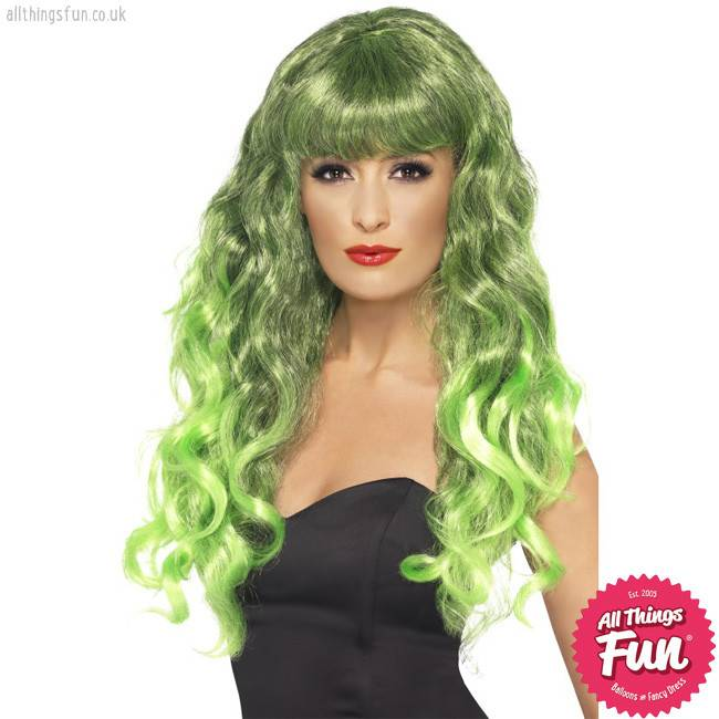Smiffys Green & Black Siren Wig
