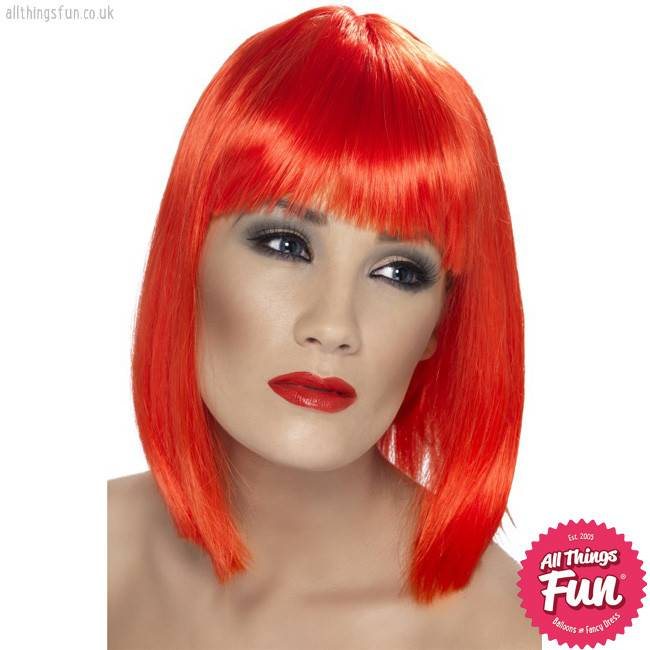 Smiffys Neon Red Glam Wig