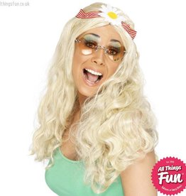 Smiffys Blonde Groovy Wig with Daisy Headband