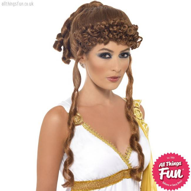 Smiffys Brown Helen of Troy Wig