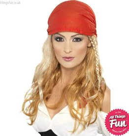 Smiffys *DISC* Blonde Pirate Princess Wig with Bandana