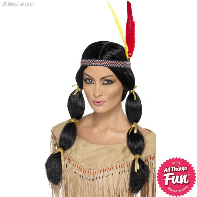 Smiffys Indian Wig with Pigtails & Headband