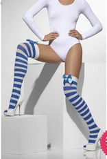 Smiffys Blue & White Striped Opaque Hold Ups with Bows