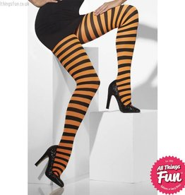 Smiffys *SP* Orange & Black Striped Opaque Tights