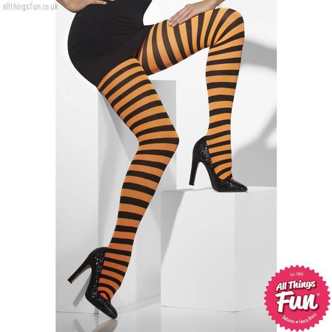 Smiffys Orange & Black Striped Opaque Tights