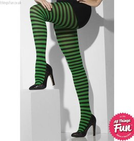 Smiffys Green & Black Striped Opaque Tights