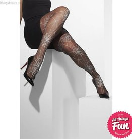 Smiffys Black Spiderweb Print Tights