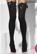 Smiffys Black Opaque Hold Ups with Black Bows
