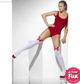 Smiffys White Opaque Hold Ups with Red Bows & Cross