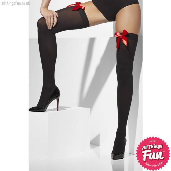 Smiffys Black Opaque Hold Ups with Red Bows