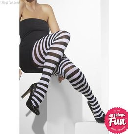Smiffys Black & White Striped Opaque Tights
