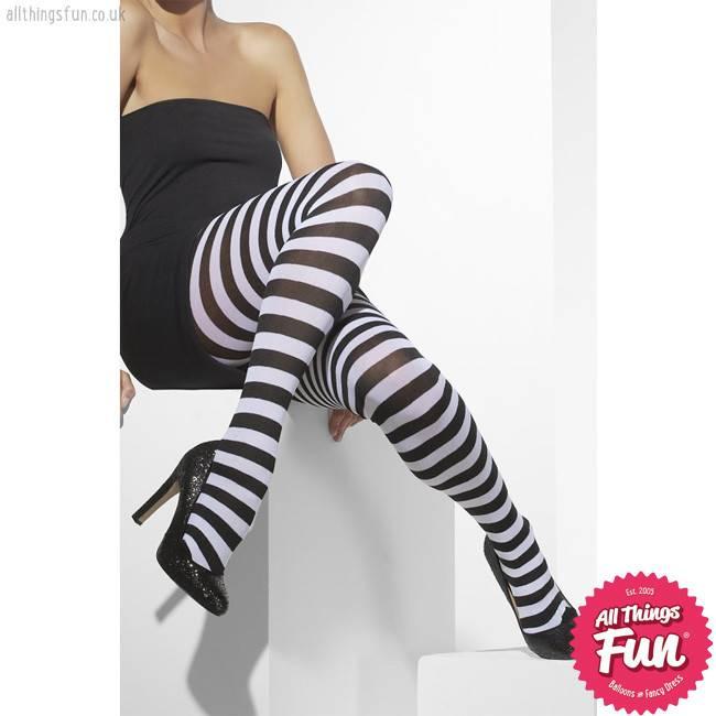 Smiffys Black & White Striped Opaque Tights