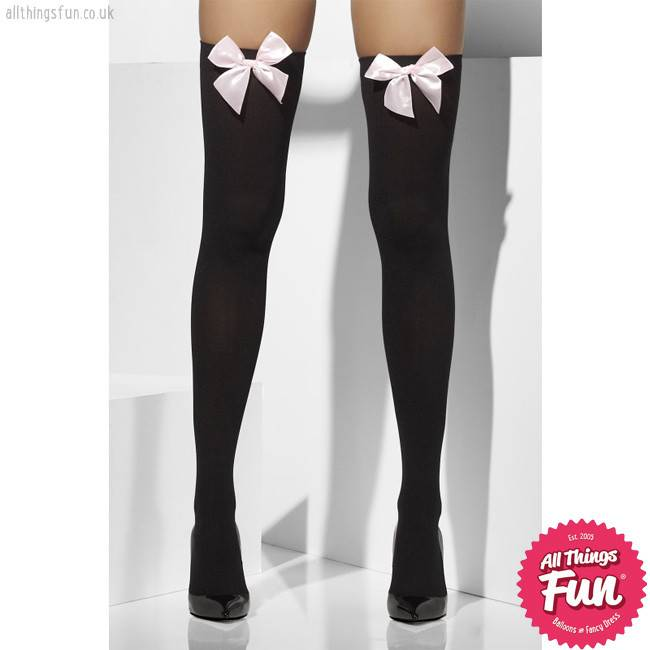 Smiffys Black Opaque Hold Ups with Pink Bows