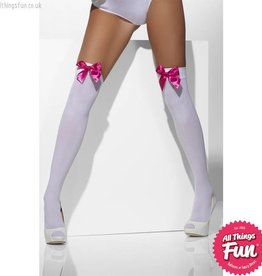 Smiffys White Opaque Hold Ups with Fuchsia Bows