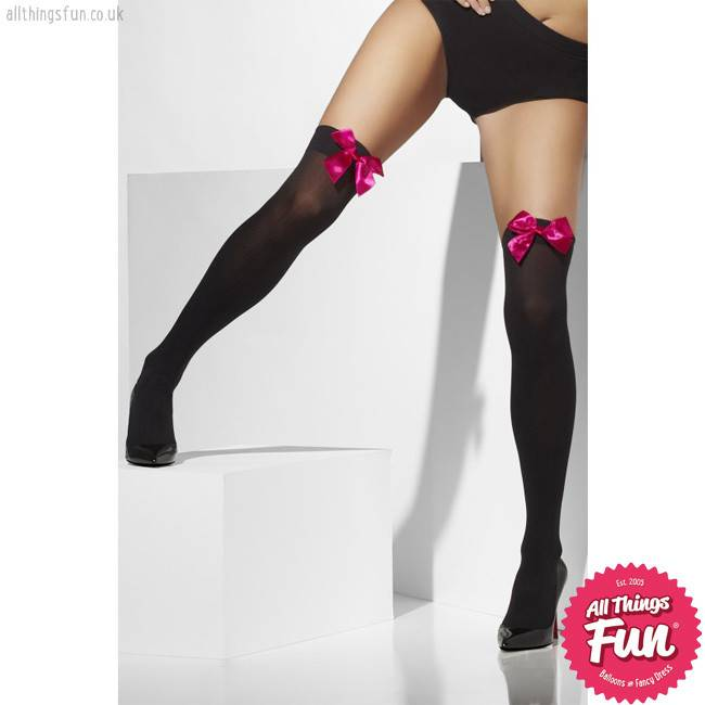 Smiffys Black Opaque Hold Ups with Fuchsia Bows