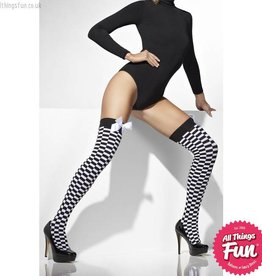 Smiffys Black & White Check Print Opaque Hold Ups with Bows