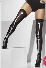 Smiffys Black Opaque Hold Ups with Skeleton Print
