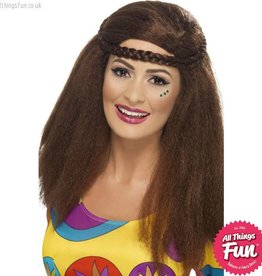 Smiffys Brown Hippy Chick Long Afro Wig