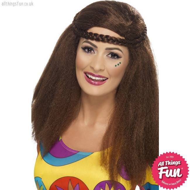 Smiffys *DISC* Brown Hippy Chick Long Afro Wig