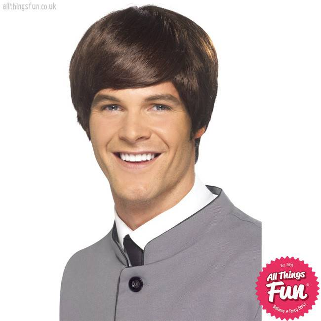 Smiffys 60's Brown Male Mod Wig Short