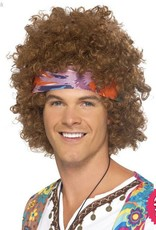 Smiffys Brown Hippy Afro Wig with Headscarf & Peace Sign Necklace