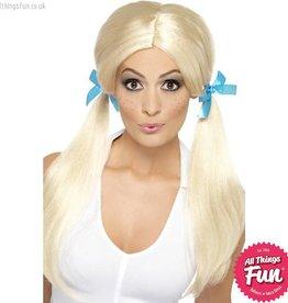 Smiffys Sassy Schoolgirl Blonde Pigtails Wig