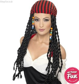 Smiffys *DISC* Black Pirate Wig with Braids & Headscarf