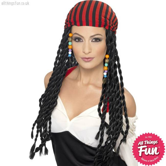 Smiffys *DISC* Black Pirate Wig with Braids & Headscarf