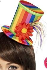 Smiffys *DISC* Rainbow Mini Top Hat on a Headband