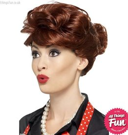 Smiffys 50's Auburn Housewife Wig