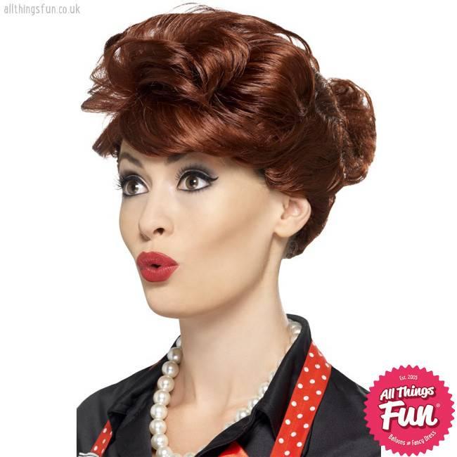Smiffys *DISC* 50's Auburn Housewife Wig