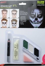 Smiffys *SP* Glow in the Dark Skeleton Make Up Kit with Paints, Cream, Crayon & Sponge