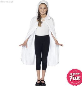 Smiffys White Hooded Long Cape