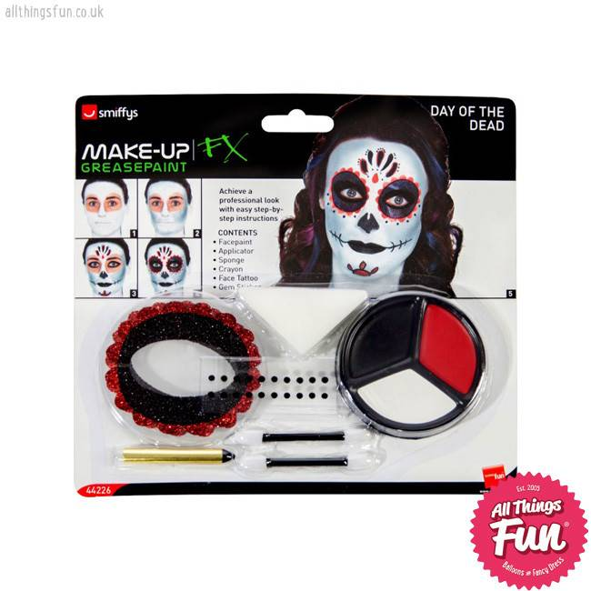 Smiffys Day of the Dead Make Up Kit with Face Paints