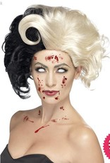 Smiffys Deluxe Black & Blonde Evil Madame Wig