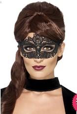 Smiffys Black Embroidered Lace Filigree Eyemask