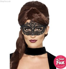 Smiffys Black Embroidered Lace Filigree Eyemask