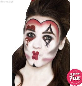 Smiffys *DISC* Queen Of Hearts Make Up Kit with Paints, Tattoos, Gems, Crayon & Applicator