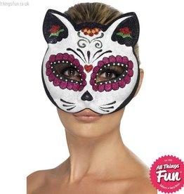 Smiffys *SP* Sugar Skull Cat Glitter Eyemask
