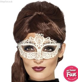 Smiffys White Embroidered Lace Filigree Eyemask